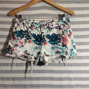 free people | floral distress jean shorts